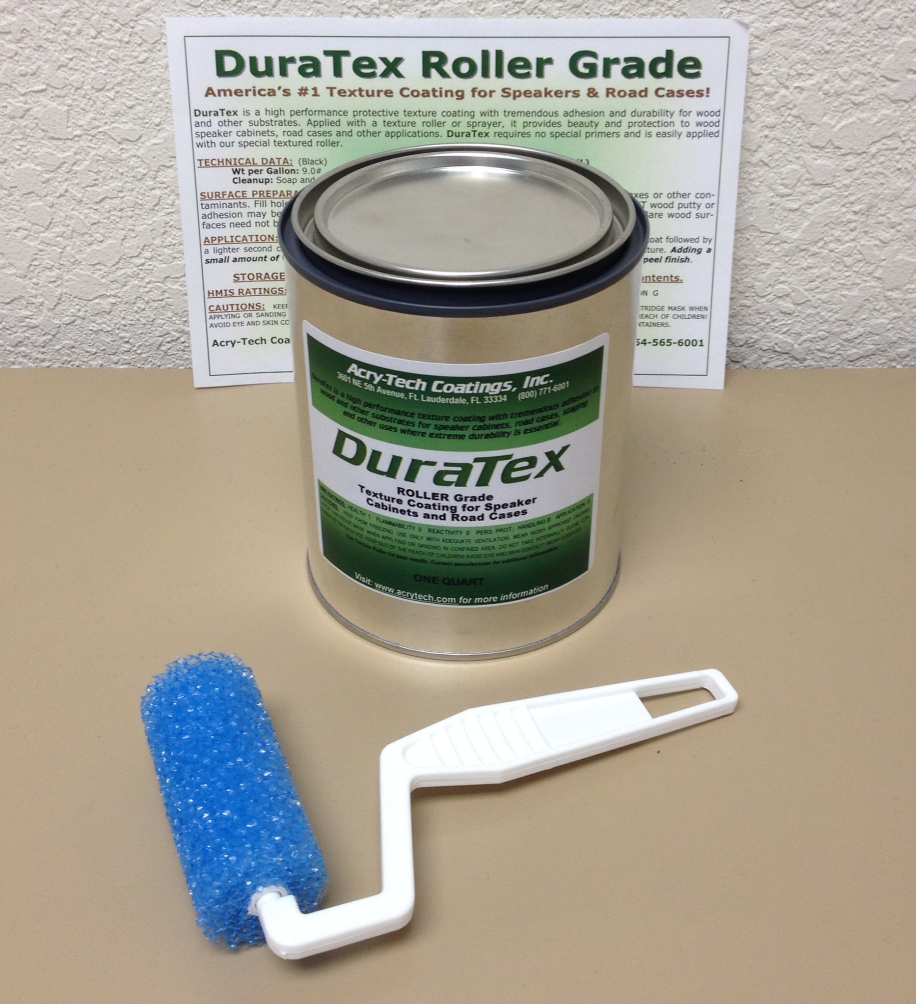 DuraTex Speaker Cabinet Texture Coating 1 Quart Roller Grade White Kit